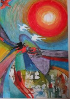 Tekening met overheersende rode zon in landschap met vogels.